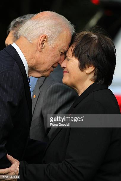 VicePresident Joe Biden is welcomed with a traditional Maori hongi from Kuia Hiria Hape at Government House on July 21 2016 in Auckland New Zealand...