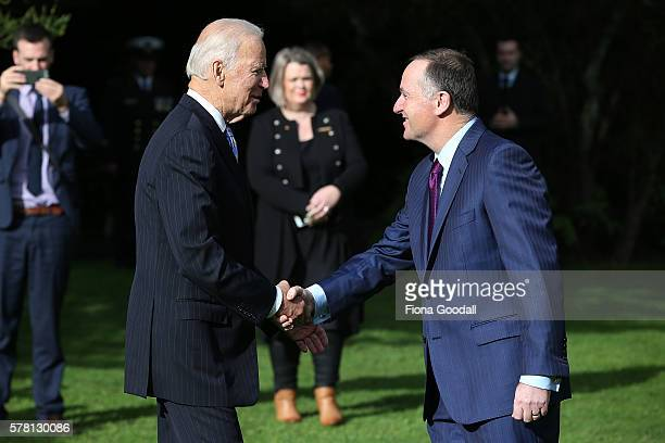 Vice-President Joe Biden meets New Zealand Prime Minister John Key at Government House on July 21, 2016 in Auckland, New Zealand. Biden is visiting...