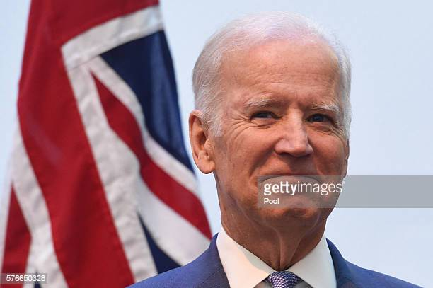 VicePresident Joe Biden smiles after a tour of the Victorian Comprehensive Cancer Centre on July 17 2016 in Melbourne Australia Biden is visiting...