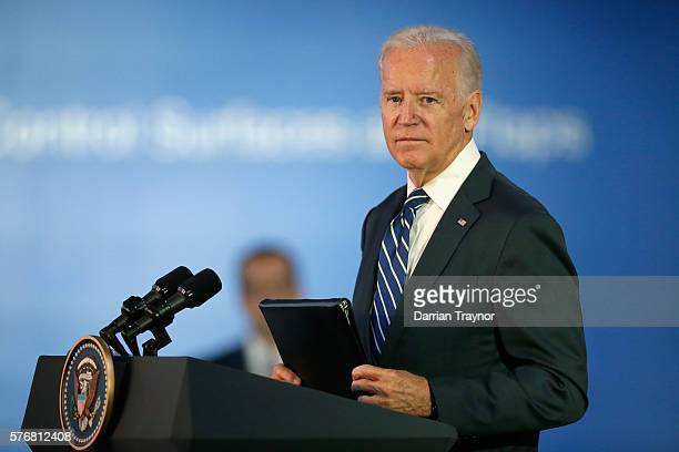 Vice-President Joe Biden speaks at the Boeing factory on July 18, 2016 in Melbourne, Australia. Biden is visiting Australia on a four day trip which...