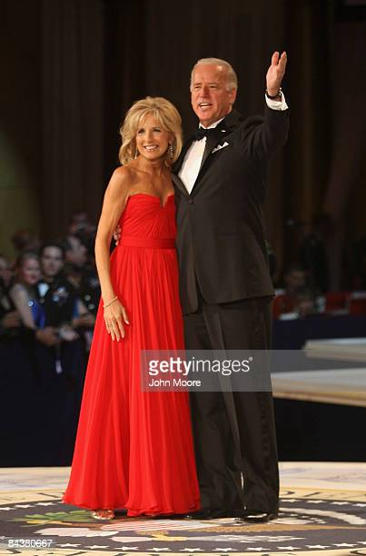 Vice-President Joe Biden waves after dancing his wife Jill at the Commander-In-Chief's Inaugural Ball January 20, 2009 in Washington, DC.