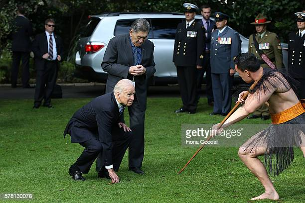 Vice-President Joe Biden with Kaumatua Lewis Moeau experiences a traditional Maori welcome at Government House on July 21, 2016 in Auckland, New...