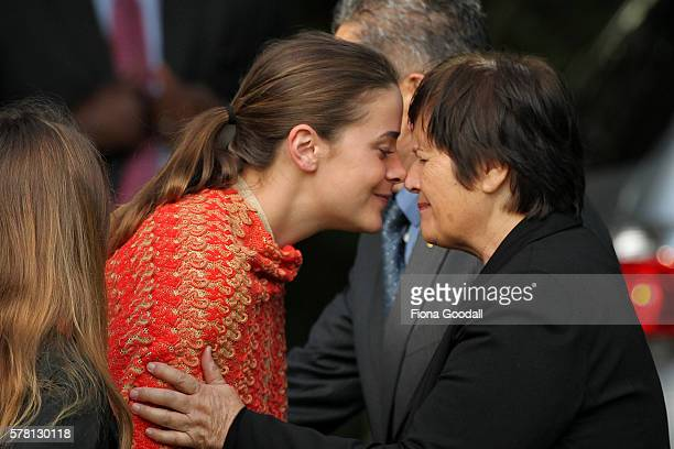 VicePresident Joe Biden's grand daughter Naomi Biden is welcomed with a traditional Maori hongi from Kuia Hiria Hape at Government House on July 21...