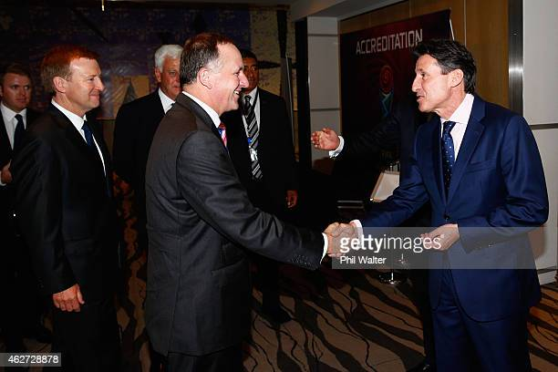 Vice-President, Lord Sebastian Coe meets with New Zealand Prime Minister John Key and the Minister for Sport Jonathan Coleman at the Sky City...