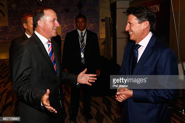 Vice-President, Lord Sebastian Coe meets with New Zealand Prime Minister John Key at the Sky City Convention Centre on February 4, 2015 in Auckland,...