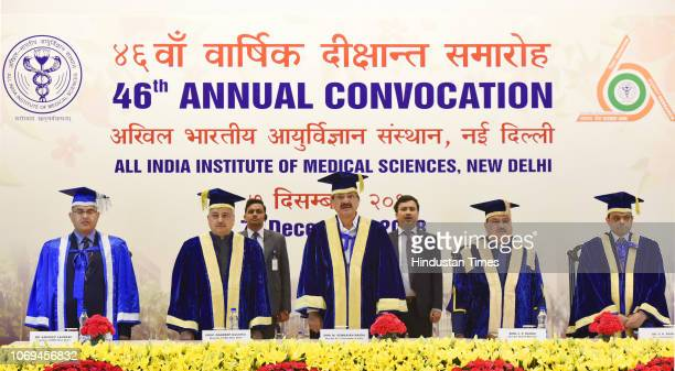 VicePresident M Venkaiah Naidu Health Minister JP Nadda and Director of AIIMS Randeep Guleria during the 46th Annual Convocation of All India...