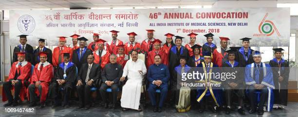 VicePresident M Venkaiah Naidu Health Minister JP Nadda and Director of AIIMS Randeep Guleria along with the medical graduates at the 46th Annual...