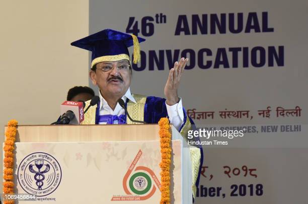 VicePresident M Venkaiah Naidu speaks at the 46th Annual Convocation of All India Institute of Medical Sciences at JL Auditorium AIIMS on December 7...