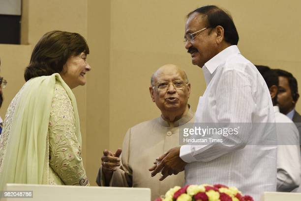 Vicepresident M Venkaiah Naidu with President of the Loomba Foundation Cherie Blair and Raj Loomba during an event organized by the Loomba Foundation...