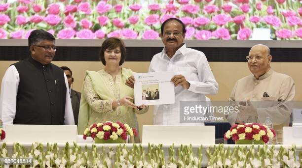Vicepresident M Venkaiah Naidu with President of the Loomba Foundation Cherie Blair along with Union Minister of Law and Justice Ravi Shankar Prasad...
