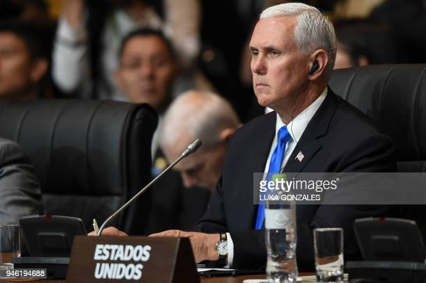 Vice-President Mike Pence attends the plenary session of the Eighth Americas Summit in Lima, on April 14, 2018. US strikes on Syria overshadowed the...