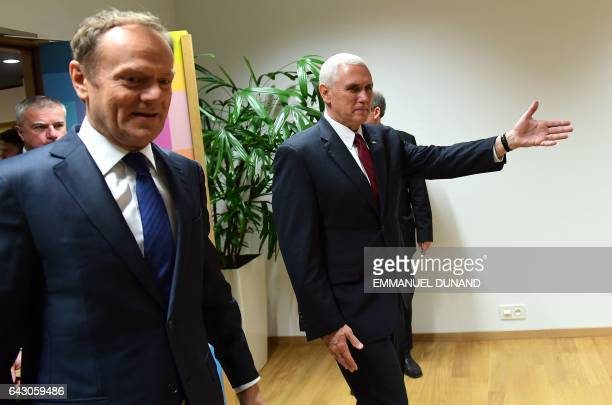 Vice-President Mike Pence meets with European Council President Donald Tusk at the European Council in Brussels on February 20, 2017. US Vice...