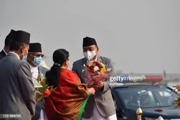 Vice-President Nanda Bahadur Pun along with face mask give flower bouquet to farewell President Bidya Devi Bhandari for two-day official state visit...