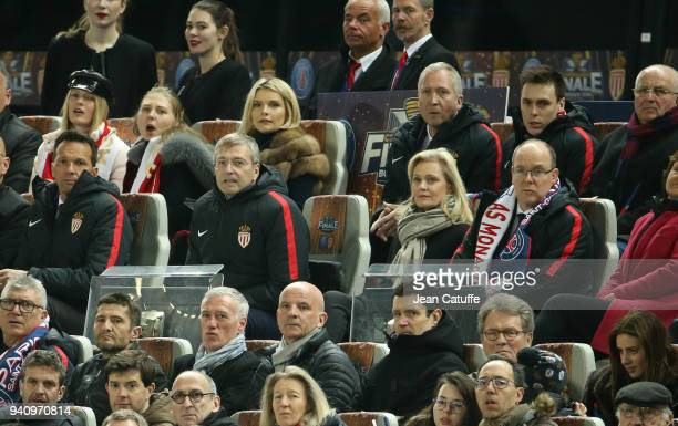 VicePresident of AS Monaco Vadim Vasilyev Louis Ducruet below President of AS Monaco Dmitry Rybolovlev French League LFP President Nathalie Boy de la...