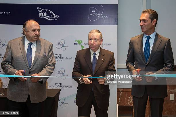 Vicepresident of FIA Jose Abed , President of FIA Jean Todt and Founder of Escuderia Telmex Carlos Slim Domit inaugurate the Mexico Automobile Week...