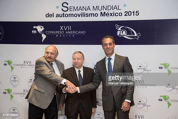 Vicepresident of FIA Jose Abed , President of FIA Jean Todt and Founder of Escuderia Telmex Carlos Slim Domit pose for pictures during the opening of...