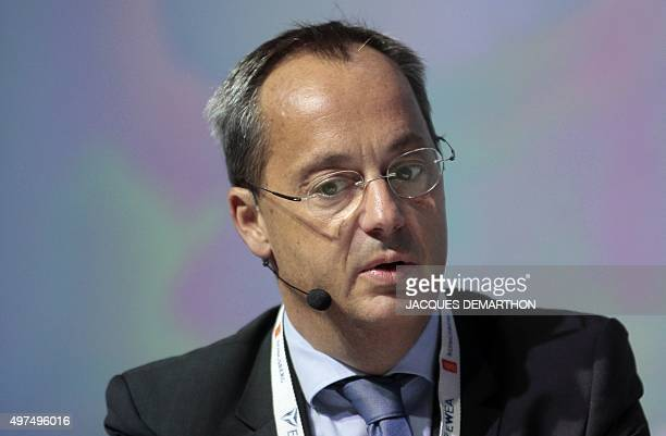 Vice-president of French multinational Alstom Jerome Pecresse, delivers a speech during a European wind energy association conference, on November...