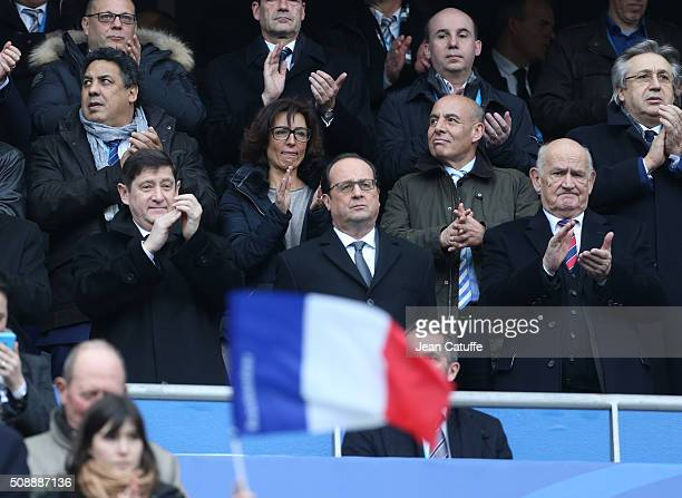 Vicepresident of French Rugby Federation Serge Blanco French Minister of Sports Patrick Kanner Nathalie Iannetta Hollande's adviser for sports French...