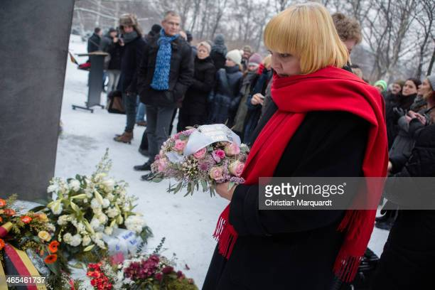 Vice-President of German Bundestag, Claudia Roth lays a wreath during an event to commemorate the homosexual men and women who were persecuted by the...