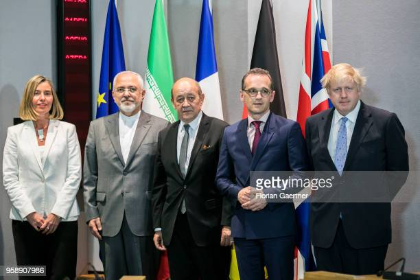 Vice-President of the European Commission Federica Mogherini, Mohammed Javad Zarif, Foreign Minister of Iran, Jean-Yves Le Drian, Minister for...