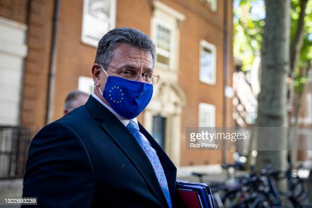 Vice-President of the European Commission for Interinstitutional Relations Maroš Šefčovič departs from Europe House after giving a press conference...