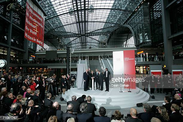 VicePresident of the European Council Guenter Verheugen German Transport Minister Wolfgang Tiefensee German Chancellor Angela Merkel Berlin Mayor...