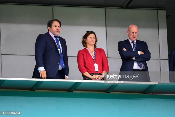 Vicepresident of the FFR Serge SIMON French sports minister Roxana MARACINEANU and president of the French Rugby Federation Bernard LAPORTE during...