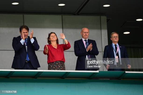 Vicepresident of the FFR Serge SIMON French sports minister Roxana MARACINEANU and president of the French Rugby Federation Bernard LAPORTE and...