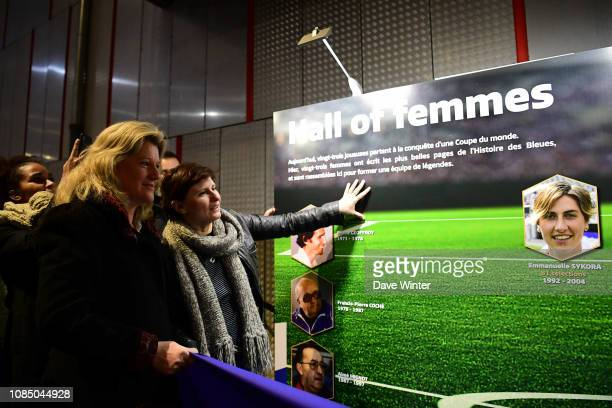 Vicepresident of the French Football Federation Brigitte Henriques and French sports minister Roxana Maracineanu during the inauguration in Le Havre...