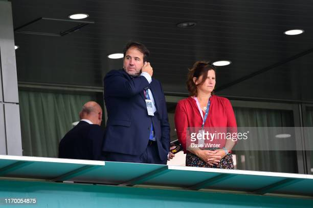 Vicepresident of the French Rugby Federation Serge SIMON and French sports minister Roxana MARACINEANU during the Rugby World Cup Group C match...