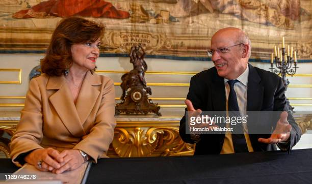 VicePresident of the Government of Spain Carmen Calvo and Portuguese Foreign Minister Augusto Santos Silva present the joint program to commemorate...