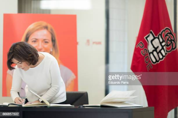 Vicepresident of the Government of Spain Soyara Saez de Santamaria attends the Funeral Chapel for socialist politician Carme Chacon at PSOE...