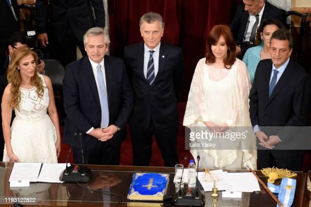 Vice-president of the Senate Claudia Ledesma, Argentina President-elect Alberto Fernandez, Outgoing President of Argentina Mauricio Macri, Argentina...