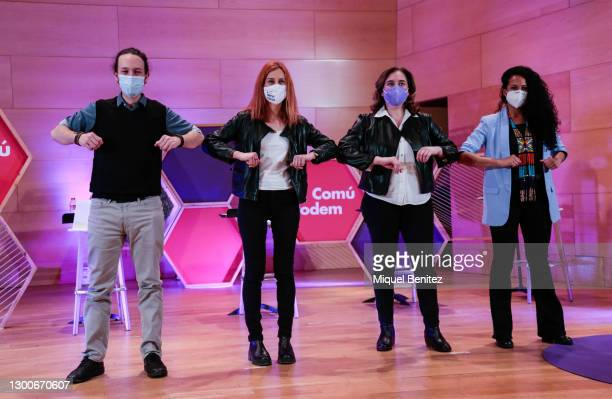 Vice-president of the Spanish Government and Minister for Social Rights and Agenda 2030, Pablo Iglesias, Jessica Albiach, Barcelona's Mayor Ada Colau...