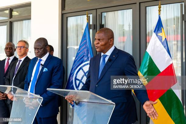 Vice-President of theWorld Bankfor West and Central Africa Ousmane Diagana and President of the Central African Republic Faustin-Archange Touadera...