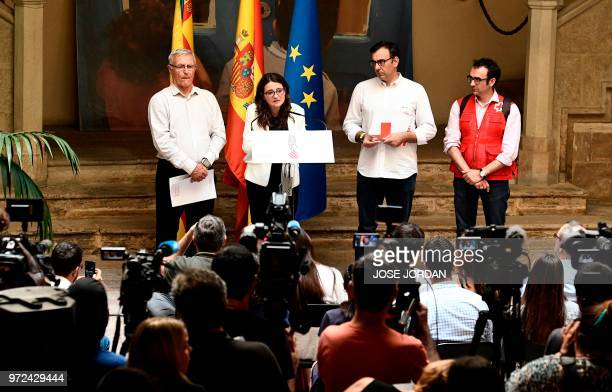 Vicepresident of Valencia's regional government Monica Oltra gives a press conference next to Mayor of Valencia Joan Ribo and members of the Red...