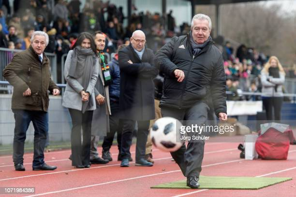 DFB vicepresident Peter Frymuth shoots a penalty during the U17 Girl's international friendly match between Germany and Netherlands at the Sportpark...