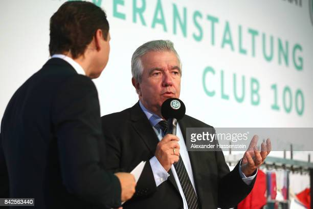 VicePresident Peter Frymuth speaks at the Awarding Ceremony at the 20th anniversary of Volunteering for the Club 100 at MercedesBenz Museum on...