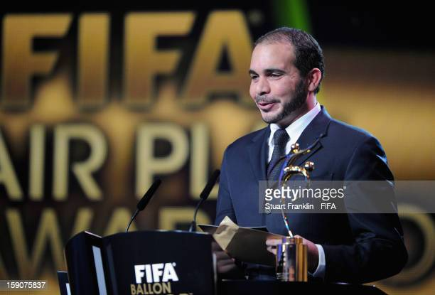 VicePresident Prince Ali Bin AlHussein presenting the FIFA Fair Play Award during the FIFA Ballon d'Or Gala 2012 at the Kongresshaus on January 7...
