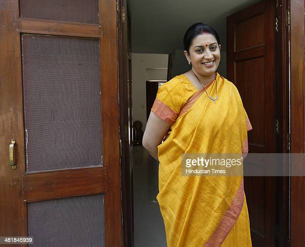 VicePresident Smriti Irani during the interview at her Delhi residence on April 1 2014 in New Delhi India BJP has declared Smriti Irani as partys...