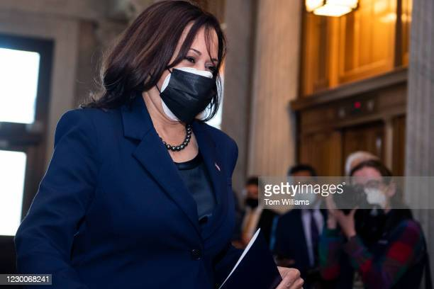 Vice-President-elect Kamala Harris, D-Calif., arrives for a cloture vote in the Capitol on the National Defense Authorization Act for Fiscal Year...