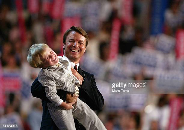 Vicepresidential candidate John Edwards holds his son Jack after he spoke at the Democratic National Convention on July 28 in Boston Edwards will be...
