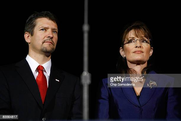 Vicepresidential nominee Alaska Gov Sarah Palin and husband Todd Palin during the election night rally at the Arizona Biltmore Resort Spa on November...