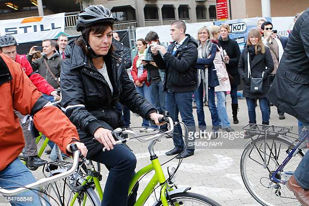 VicePrime Minister and Interior Minister Joelle Milquet starts to participate in the 24 hours biking event at the UCL LouvainLaNeuve Catholic...