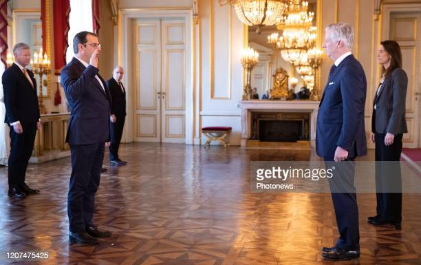 VicePrime Minister and Minister of Budget Civil Services and Science David Clarinval King Philippe Filip of Belgium and Belgian Prime Minister Sophie...