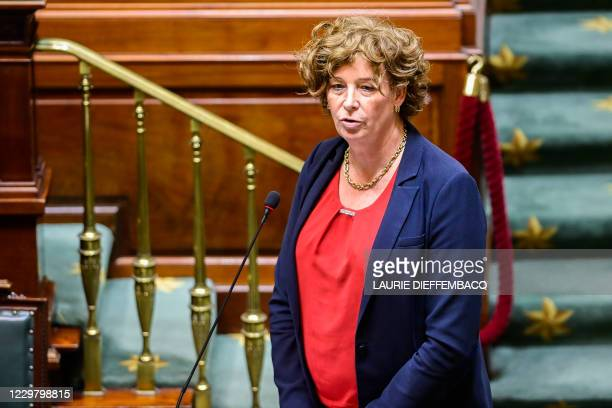 Viceprime minister and minister of Civil Services and Stateowned companies Petra De Sutter pictured during a plenary session of the Chamber at the...