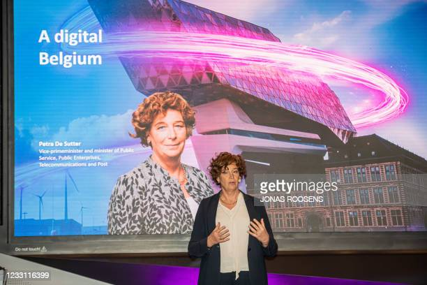 Vice-prime minister and minister of Civil Services and State-owned companies Petra De Sutter pictured during a joint press moment of Proximus and...