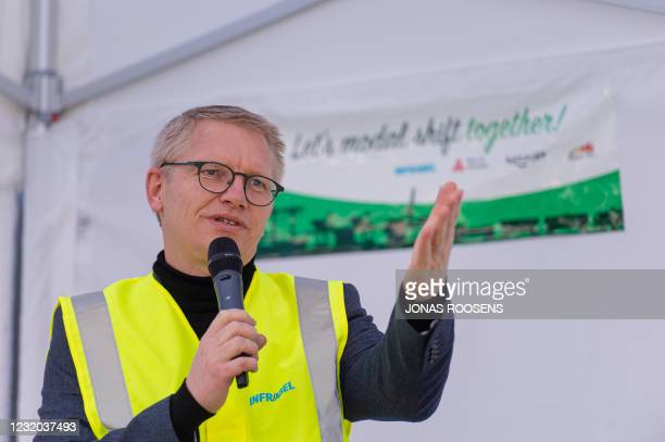 Vice-prime minister and Mobility Minister Georges Gilkinet pictured during a press moment organised by the port of Antwerp, Railport and Infrabel on...