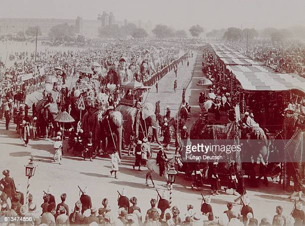 Viceroy and Lady Curzon and the Duke and Duchess of Connaught attend the State Entry in Durbar India | Location Durbar India