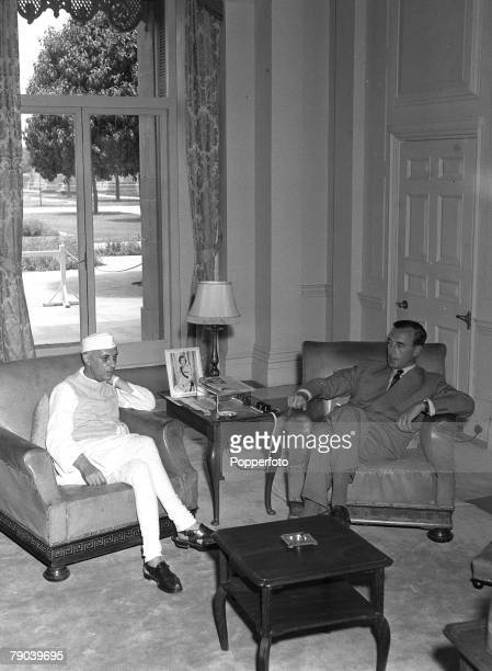 Viceroy Lord Mountbatten in his study in New Delhi talks with Pandit Nehru as they both sit in comfortable armchairs 9th July 1947